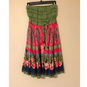 Boho Floral Strapless Dress Pink Green Size Small